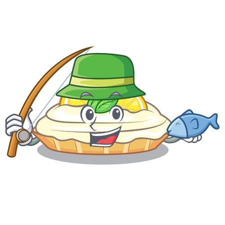 Fishing cartoon piece of yummy lemon meringue pie vector illustration