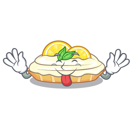 Tongue out mascot delicious homemade lemon cake with sugar vector illustration