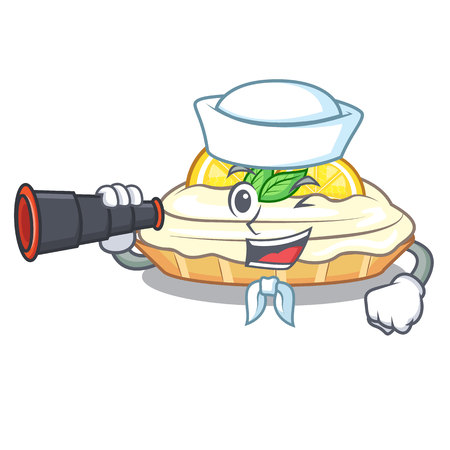 Sailor with binocular cartoon piece of yummy lemon meringue pie vector illustration Illusztráció