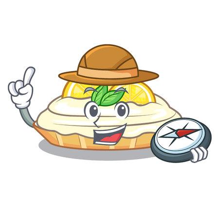 Explorer cartoon piece of yummy lemon meringue pie vector illustration Ilustração