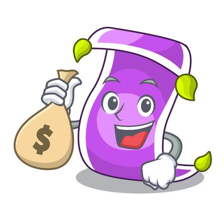 With money bag cartoon oriental magic carpet on the show vector illustration