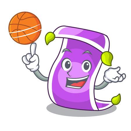With basketball cartoon oriental magic carpet on the show vector illustration Illustration