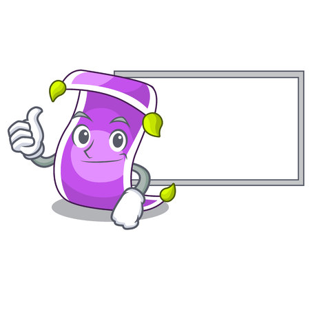 Thumbs up with board cartoon oriental magic carpet on the show vector illustration