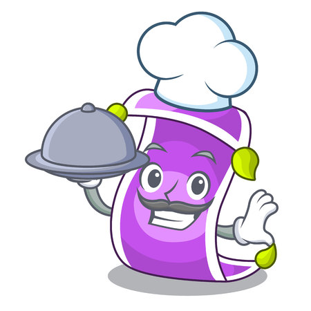 Chef with food cartoon fairytale story and magic carpet