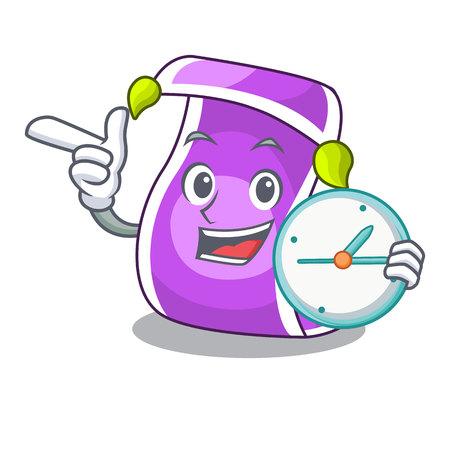 With clock cartoon flying carpet against blue sky vector illustration Illustration