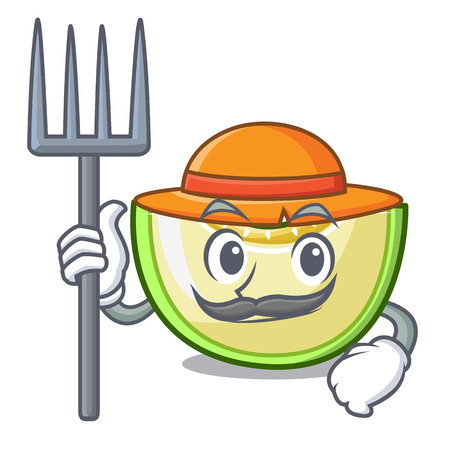 Farmer slice of melon isolated on cartoon vector illustration