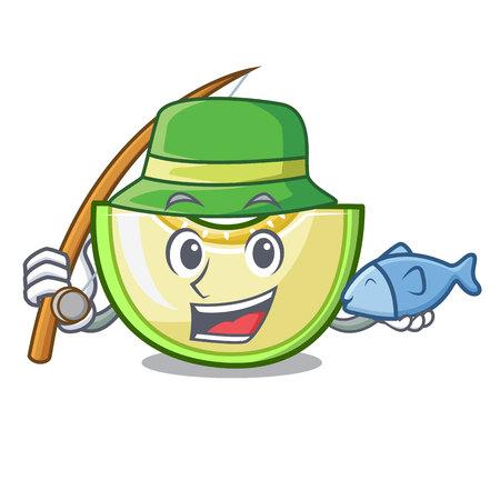 Fishing cartoon sweet melon slice to dessert vector illustration
