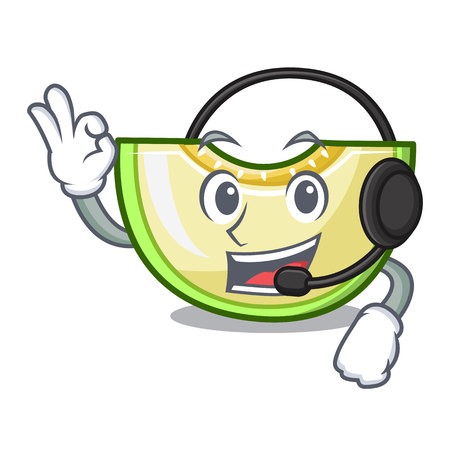With headphone cartoon sliced fresh melon green sweet vector illustration Vetores