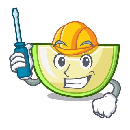 Automotive cartoon sliced fresh melon green sweet vector illustration