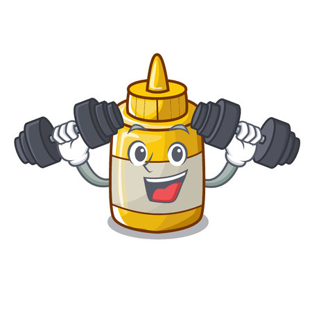 Fitness mustard bottle container cartoon with no label vector illustration 일러스트