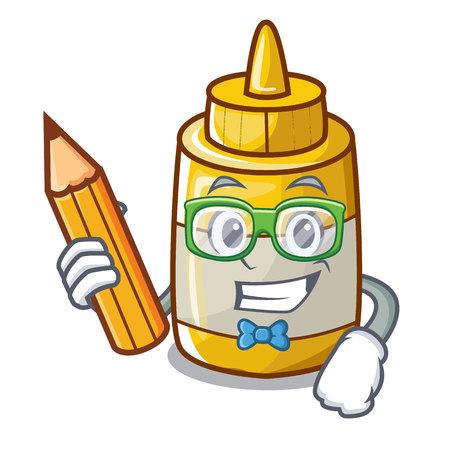 Student character bottle style mustard sauce yummy vector illustration Vektoros illusztráció