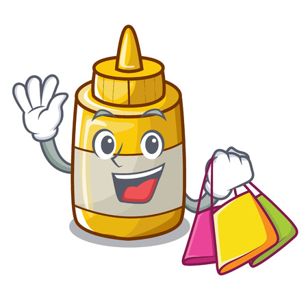 Shopping character bottle style mustard sauce yummy vector illustration