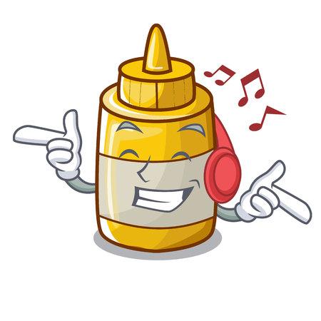 Listening music yellow mustard in plastic bottle cartoon vector illustration