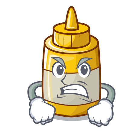 Angry yellow mustard in plastic bottle cartoon vector illustration
