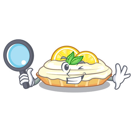 Detective cartoon lemon cake with lemon slice vector illustration