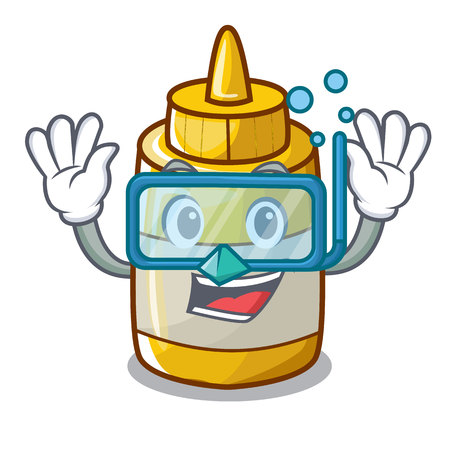 Diving character bottle style mustard sauce yummy vector illustration
