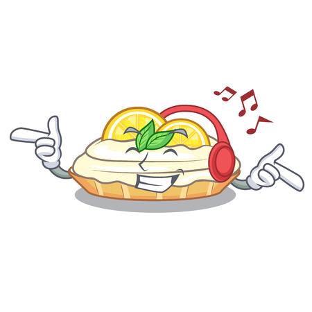 Listening music cartoon piece of yummy lemon meringue pie vector illustration
