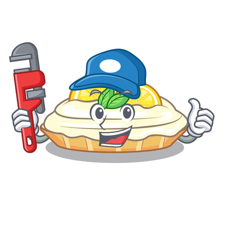 Plumber mascot delicious homemade lemon cake with sugar vector illustration Illustration