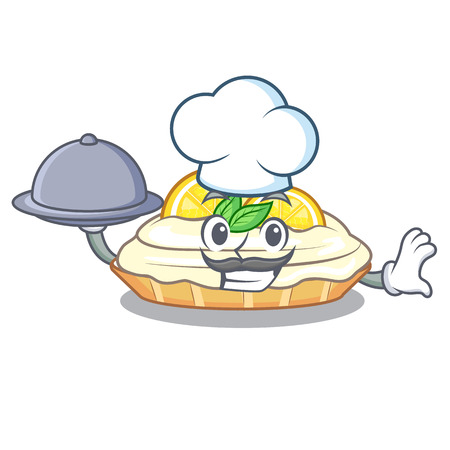 Chef with food cartoon piece of yummy lemon meringue pie vector illustration Illusztráció