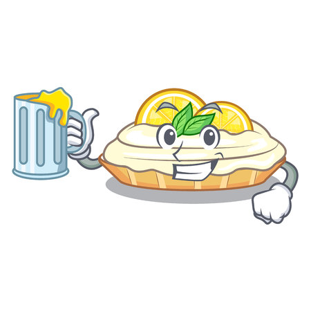 With juice cartoon piece of yummy lemon meringue pie vector illustration