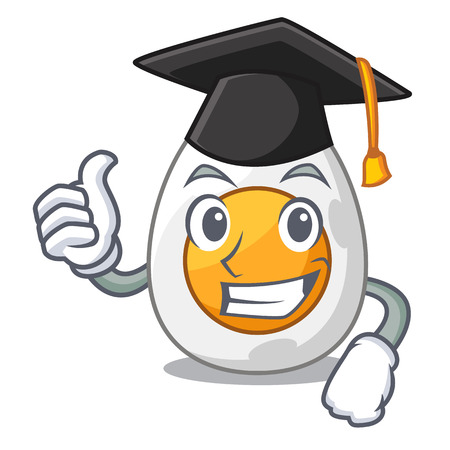 Graduation character hard boiled egg ready to eat vector illustration