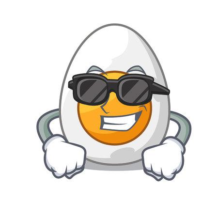 Super cool character hard boiled egg ready to eat vector illustration Illustration