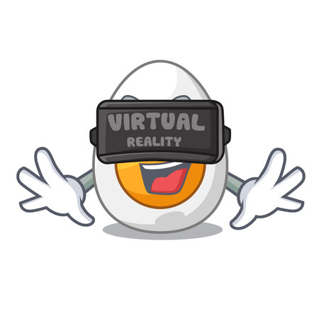 Virtual reality peeled boiled egg on mascot cartoon vector illustration