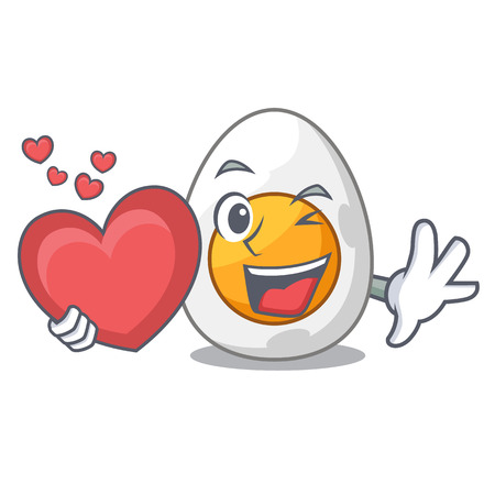 With heart peeled boiled egg on mascot cartoon vector illustration