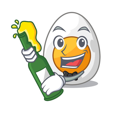 With beer freshly boiled egg isolated on mascot cartoon vector illustration