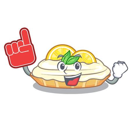 Foam finger mascot delicious homemade lemon cake with sugar vector illustration Vettoriali