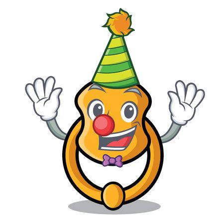Heurtoir de porte vintage clown sur illustration vectorielle de mascotte cartoon