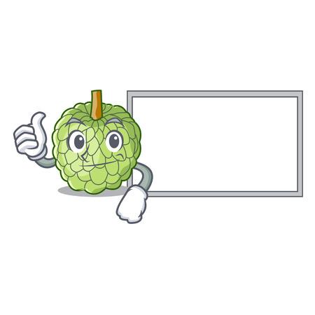 Thumbs up with board sugar apple fruit isolated on cartoon vector illustration
