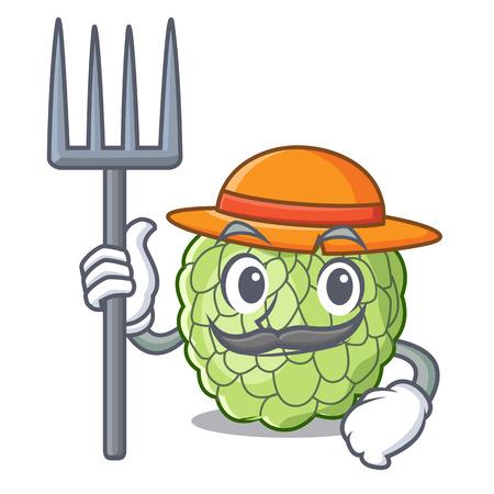 Farmer sugar apple fruit isolated on cartoon vector illustration Illustration