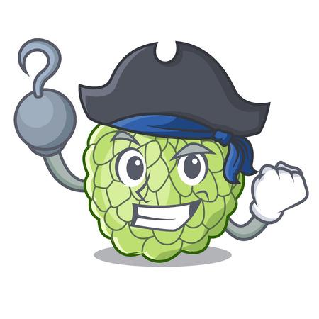 Pirate sugar apple fruit isolated on cartoon Illustration