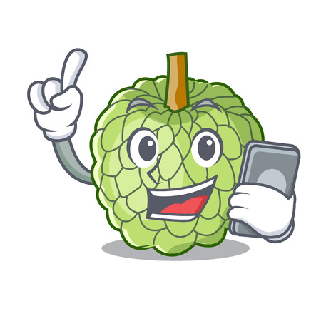 With phone sugar apple fruit isolated on cartoon vector illustration Illustration