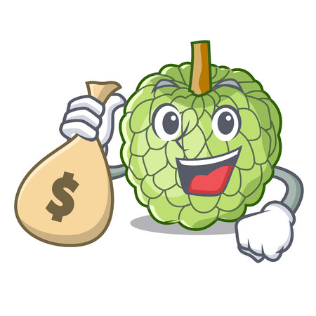 With money bag sugar apple fruit isolated on cartoon vector illustration