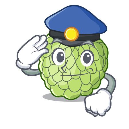 Police sugar apple fruit isolated on cartoon vector illustration