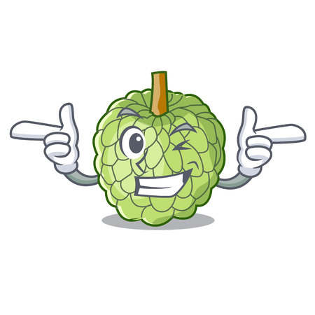 Wink character custard apple tropical fruit delicious vector illustration