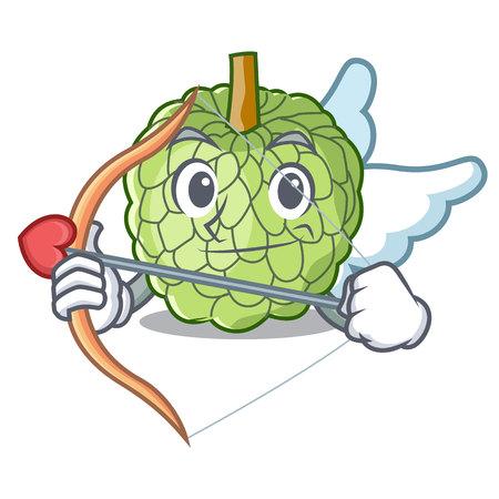 Cupid sugar apple fruit isolated on cartoon vector illustration