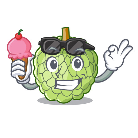 With ice cream character custard apple tropical fruit delicious vector illustration Illustration
