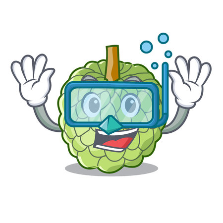 Diving character custard apple tropical fruit delicious vector illustration