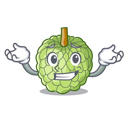 Grinning character custard apple tropical fruit delicious vector illustration Illustration