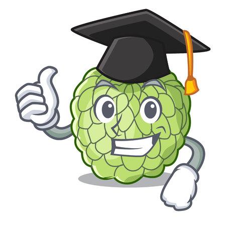 Graduation character custard apple tropical fruit delicious vector illustration