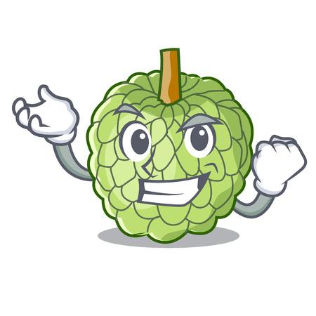 Successful character custard apple tropical fruit delicious vector illustration Illustration