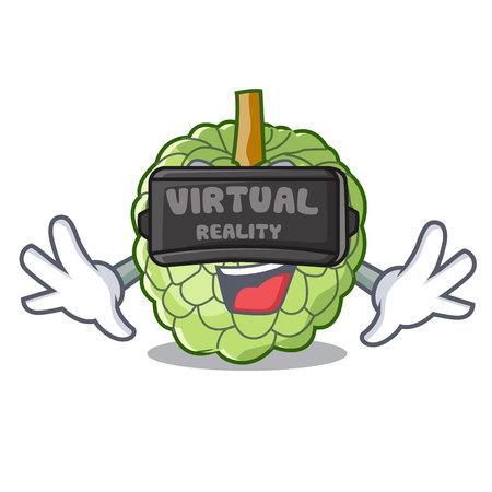 Virtual reality fresh custard apple sweet fruit cartoon vector illustration Illustration