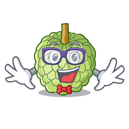 Geek character custard apple tropical fruit delicious vector illustration