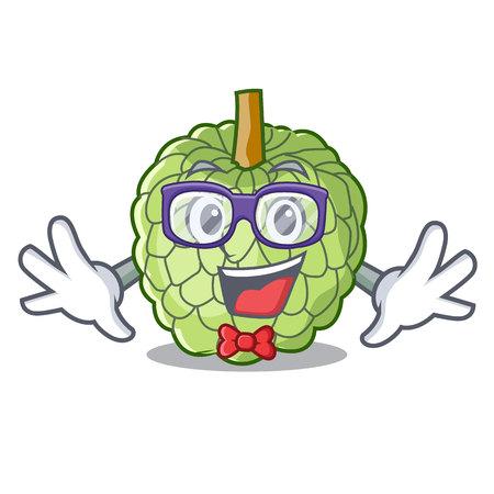 Geek character custard apple tropical fruit delicious vector illustration