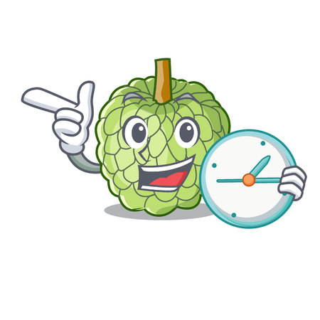 With clock character custard apple tropical fruit delicious vector illustration