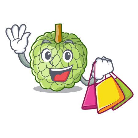 Shopping character custard apple tropical fruit delicious vector illustration Illustration