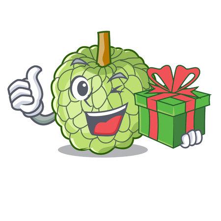 With gift fresh custard apple sweet fruit cartoon vector illustration